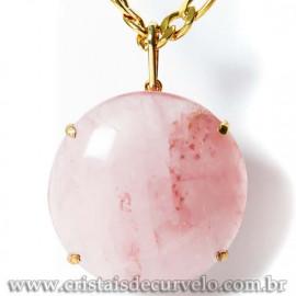 Pingente Gigante Cabochão Disco Quartzo Rosa Garra Dourado 125092