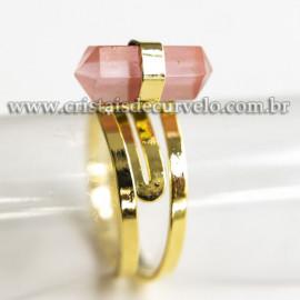 Anel Pontinha Quartzo Cherry Bi Ponta Ajustavel Dourado 113128