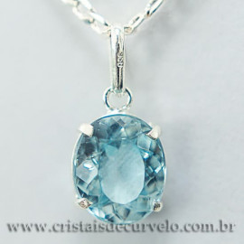 Pingente Oval Facetado Topazio Azul Prata 950 Garra 112476