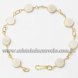 Pulseira Disco Pedra Quartzo Leitoso Ranhurado Dourado 112817