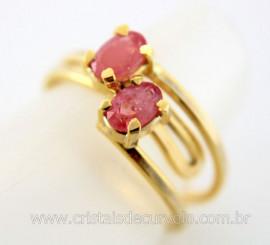 Anel 2 Pedras Turmalina Rosa Gemas Facetado Aro Dourado Ajustavel REF 17.9