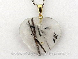 Pingente CORAÇÃO Pedra Cristal com Turmalina Incrustada Montagem Flash Dourado