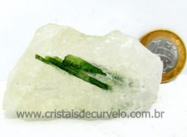 Turmalina Verde Canudo Extra Incrustado no Cristal Branco para Colecionar Cod 74.2