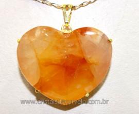 Pingente Gigante Coração Hematoide Amarelo na Garra Dourado Reff PG8608