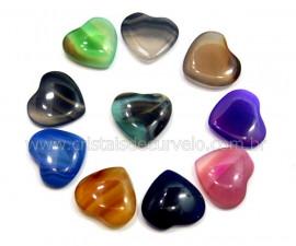 10 Coração Pedra Agata Mista Sem Furo Montagem REFF CF9343