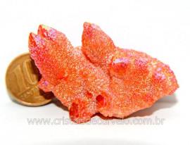 Drusa Crystal Aura Tangerina Bruta natural Sem Lapidar Cod AT8684