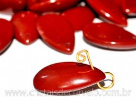 10 Gota Jaspe Vermelho Lapidado Para Montagem de Pingente ou Colar Furo Vazado Horizontal