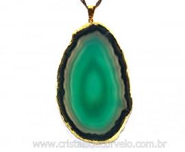 Pingente Chapa de Agata Verde Envolto Dourado REFF PA1842