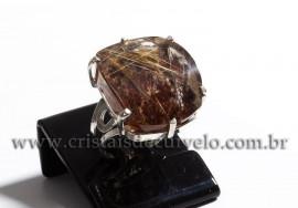 Anel Prata 950 Cristal Rutilo Natural Aro Ajustavel 112377