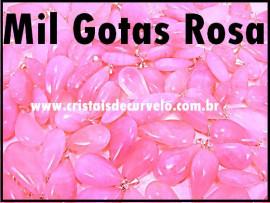 1.000 Gotas Rosa Pedra Quartzo Pingente Banhado Prata