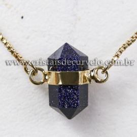 Colar Pedra Estrela Micro Bi Ponta Sextavado Envolto Dourado