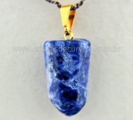 Pingente Pontinha Pedra Sodalita Azul Presilha e Pino Dourado