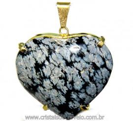 Pingente Coração Obsidiana Flocos de Neve Montagem Garra Dourado Reff CG5422
