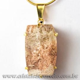 Pingente Pedra Cristal Lodolita Baguette Garra Dourada 112936