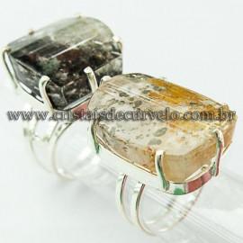 3 Anel Pedras Cristal Exótico Raro e Grande Polido Prata 950 Ajustavel ATACADO