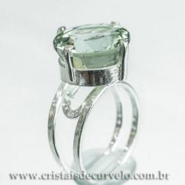 Anel Gema Prasiolita Verde Facetada Prata 950 Ajustavel 112418