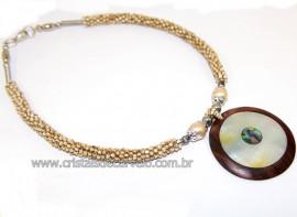 Maxi Colar Pingente Mandala de Abalone e Madrepérola Cod 110759