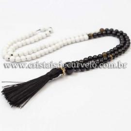 Japamala Pedra Obsidiana Negra e Bolinhas Branca 6mm 108 Contas