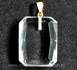 Pingente Quartzo Cristal Facetado Manual Montagem Pino Dourado REF 17.6