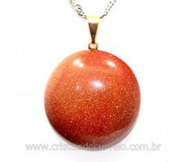 Pingente Pedra do Sol Disco Liso Pino Dourado