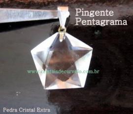 Pentagrama Pingente Pedra Cristal Montagem Banhado a Prata