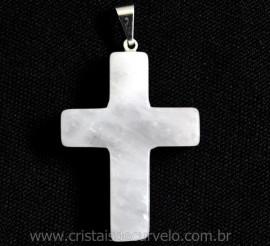 Crucifixo Pedra Quartzo Leitoso Pingente Cruz Pedra Natural Pino e Presilha Banho Flash Prata