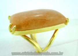 Anel Amazonita Rosa Cabochão Retangular Pedra Natural Montagem Flash Dourado Aro Ajustavel