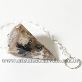 Pendulo Facetado Pedra Turmalina na Amazonita Radiestesia Corrente