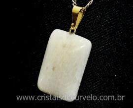 Pingente Retangular Feldspato Branco Pedra Natural Montagem Pino Argola Dourado