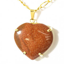 Pingente Extra Coração Pedra do Sol Montagem Garra Dourado
