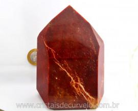 Ponta Cristal Vermelho ou Quartzo Vermelho Pedra Grande Lapidado Mineral Natural Cod 1.306