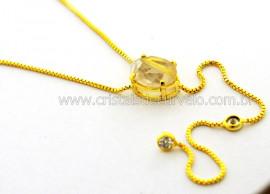 Colar Gravata Pedra Cristal com Rutilo Dourado Reff CG4147