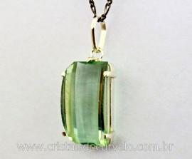 Pingente Retangulo Facetado Pedra Obsidiana Verde Prata 950 Garras Reforçado REFF 41.5