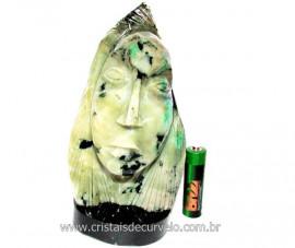 Busto de Artesanato Rosto Esculpido Pedra Esmeralda Cod RE4434