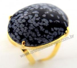 Anel Obsidiana Flocos de Neves Cabochão Oval Pedra Natural Montagem Banho Flash Dourado Aro Ajustavel