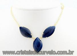 Maxxi Colar 3 Pedra Natural Agata Azul  Montagem Dourado Cod MB23.7