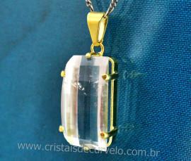 Pingente Cristal Retangulo Facetado Manual Montagem Garra Dourado
