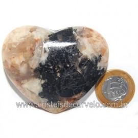 Coração Turmalina Preta Incrustada Amazonita Pêssego Cod 119041