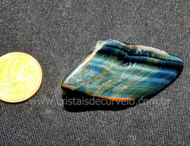 01 Olho de Falcão Rolado Pedra Natural de Garimpo Esoterismo Colecionador Ref 17.7