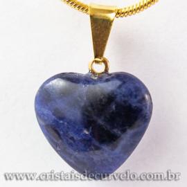 Pingente Mini Coração Pedra Sodalita Natural Dourado 112916