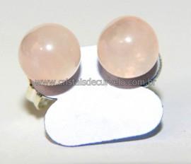 10 Brinco Bolinha Pedra Quartzo Rosa ATACADO Pino Tarracha Banho Prata Flasch