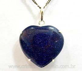 Pingente Coração Pedra Estrela Azul Prata 950 Garra REFF CP7493