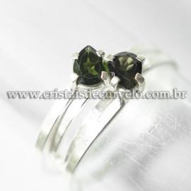 Anel 2 Pedras Turmalina Verde Facetado Prata 950 Ajustavel 125221