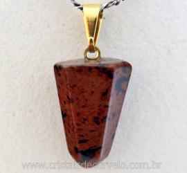 Pingente Pontinha Pedra Obsidiana Mahogany Natural Presilha e Pino Dourado