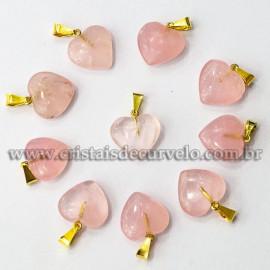 10 Pingente Mini Coração Quartzo Rosa Pedra Natural Dourado ATACADO