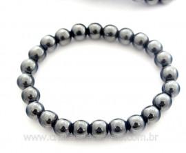 Pulseira Bolinha Pedra Hematita Rolada Fio Silicone PB1818