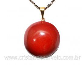 Pingente Disco Cabochão Jaspe Vermelho Pedra Natural Pino Dourado
