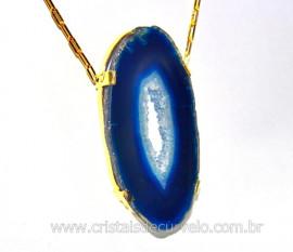 Colar Chapa de Agata Azul Montagem Vertical Dourado CA5680