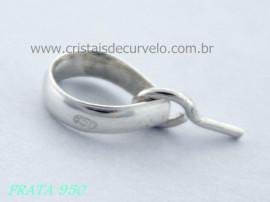 1 Presilha Com Pino Prata 950 Para Montagem de Pingentes com Furo