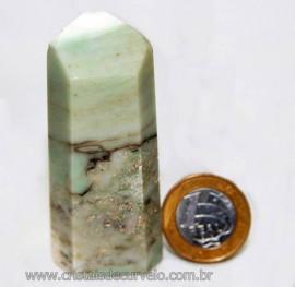 Ponta Pirofilita Verde Gerador Pedra Com Dendrita Cod 101503